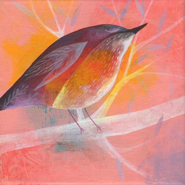 painted bird on peach 1