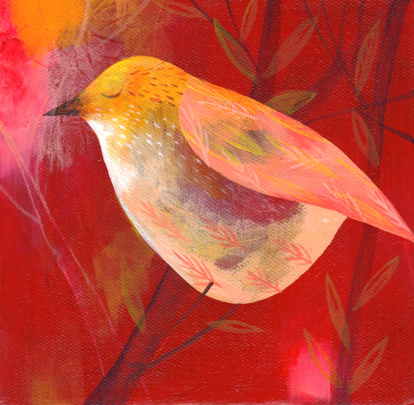 red painted bird
