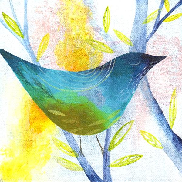 white painted bird 2