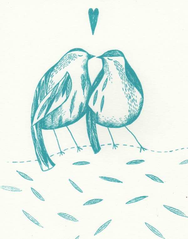 2 love birds screen print