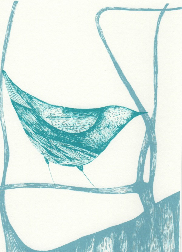 blue bird screen print