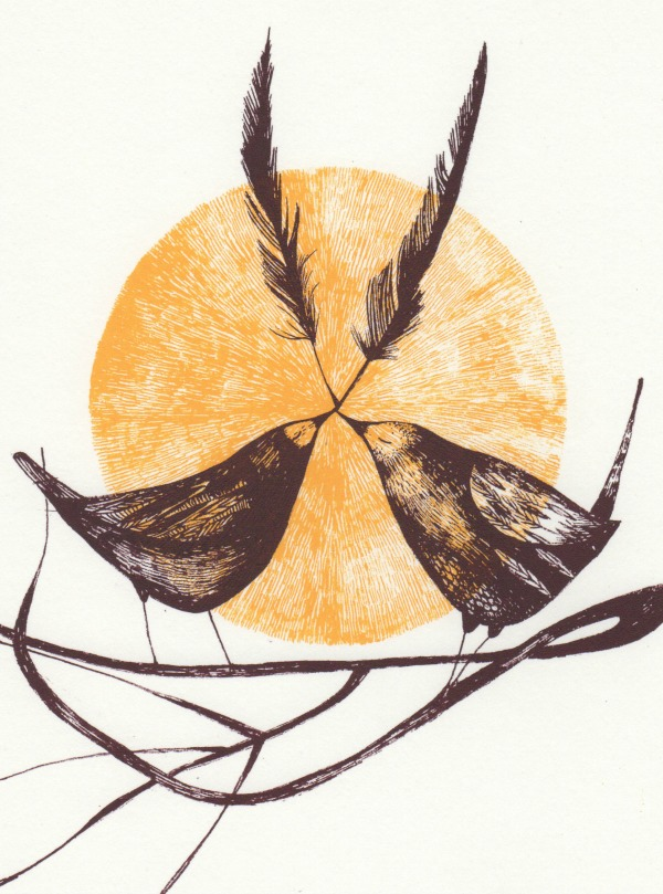 nesting screenprint birds