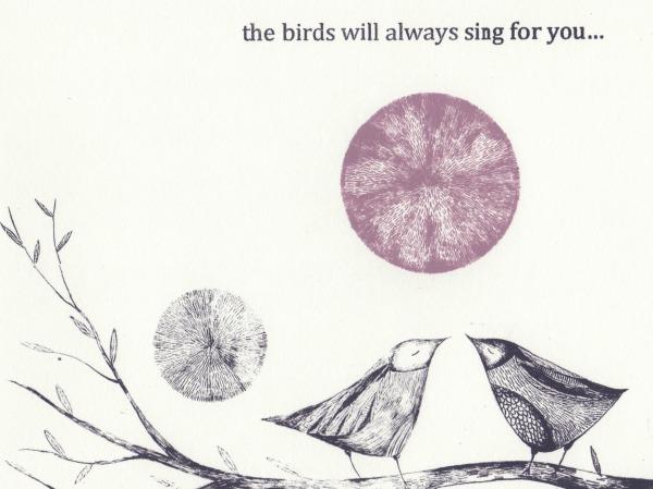 screenprint purple birds