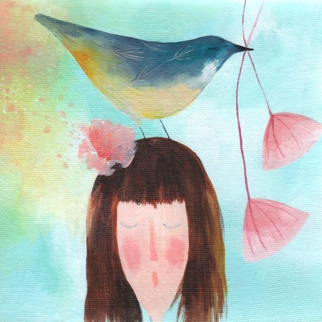 birds make me happy painting