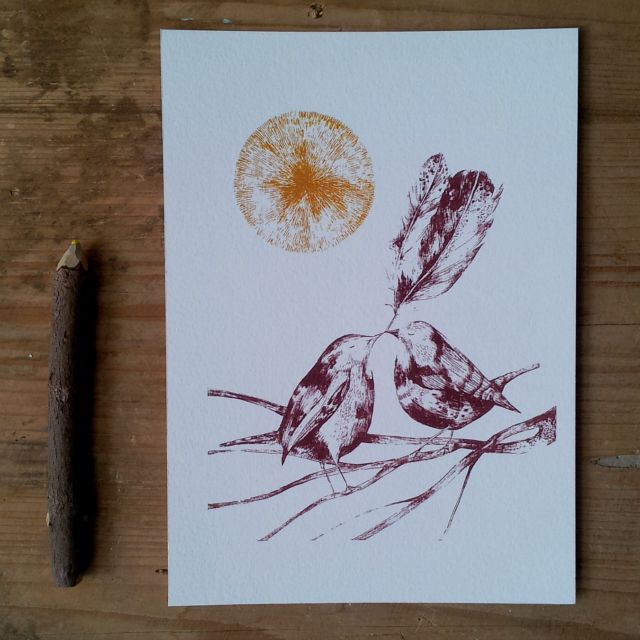 bird and feather print