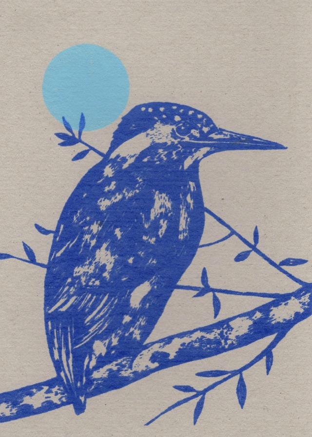 kingfisher and moon card