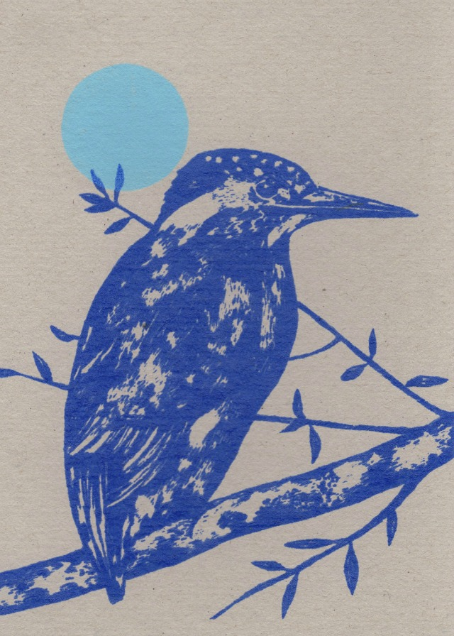 kingfisher and moon card