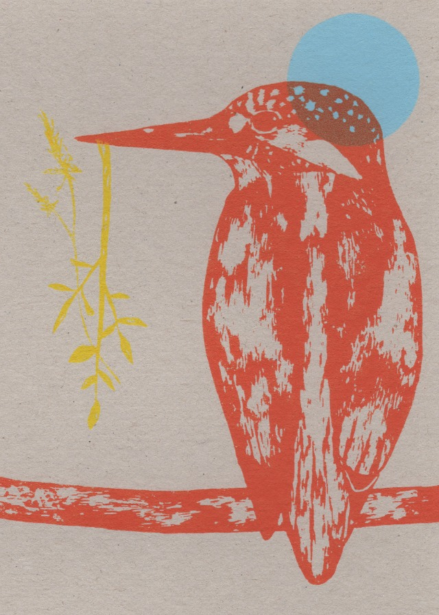 kingfisher and yellow branch card