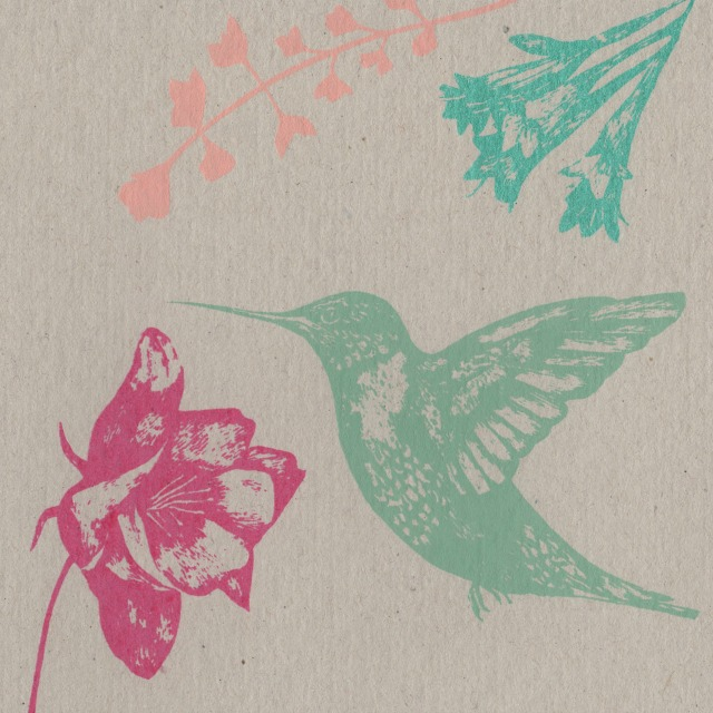 hummingbird and flowers card blog