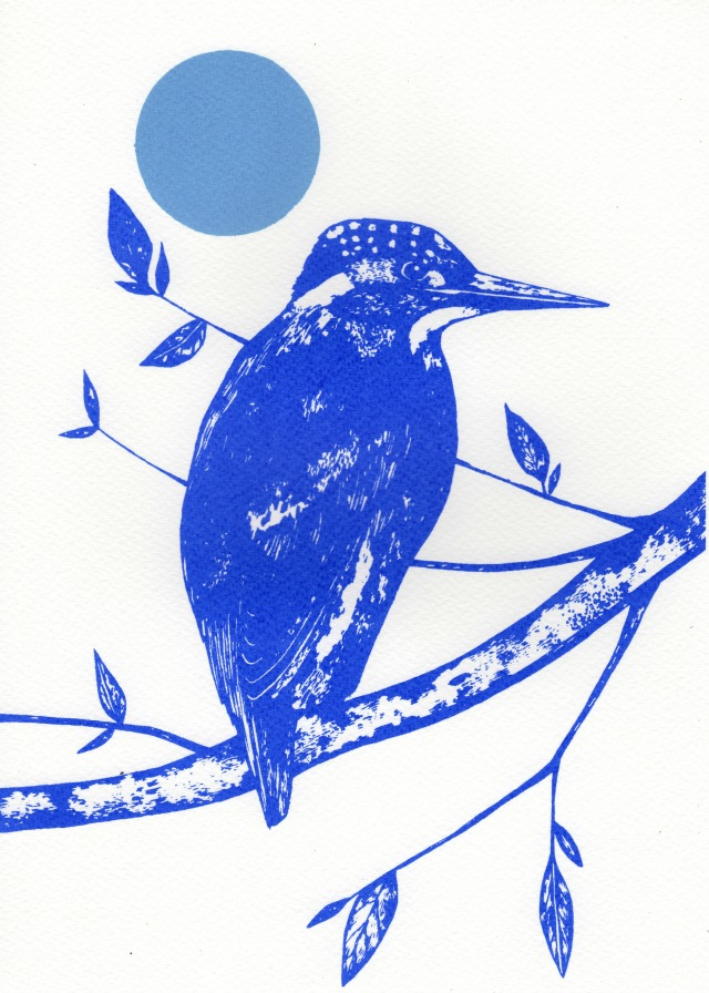 kingfisher and moon 2print