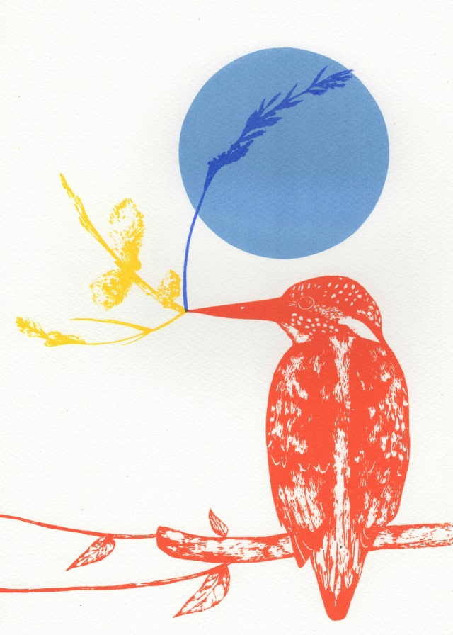 kingfisher and yellow branch2 print